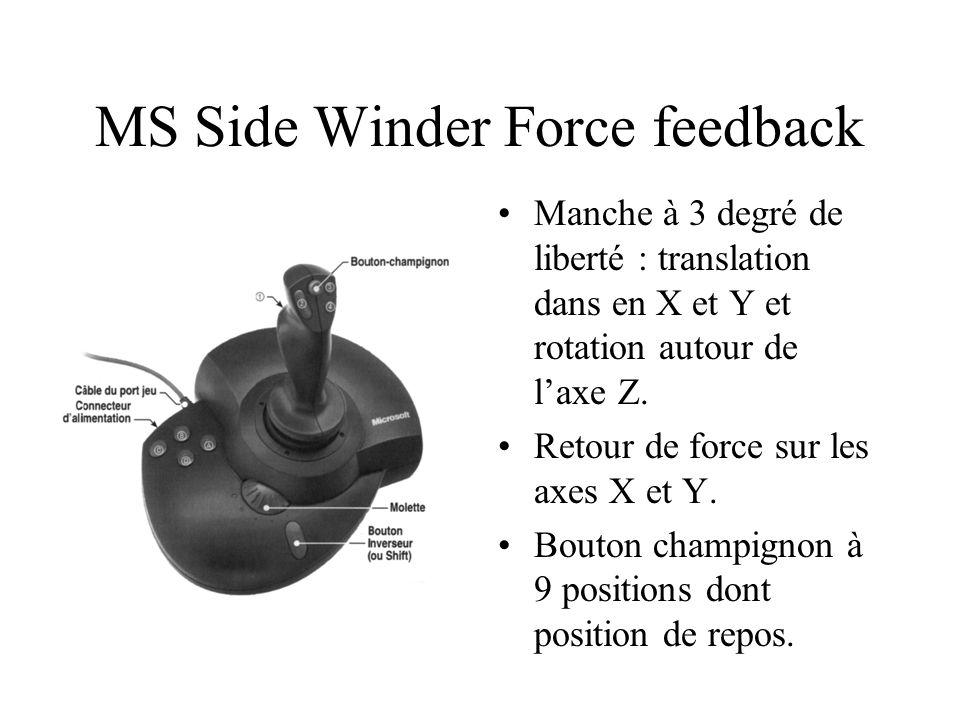 MS Side Winder Force feedback Manche à 3 degré de liberté : translation dans en X et Y et rotation autour de l'axe Z.