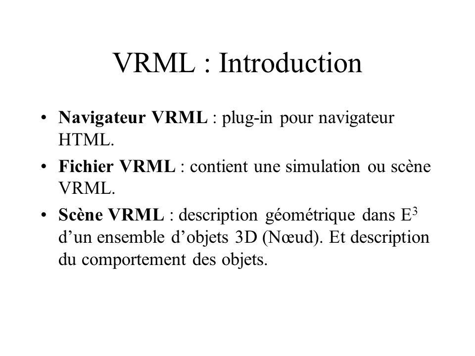 VRML : Introduction Navigateur VRML : plug-in pour navigateur HTML.