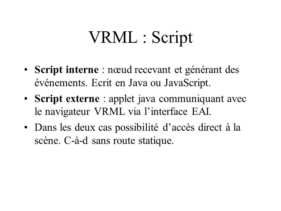 VRML : Script Script interne : nœud recevant et générant des événements.