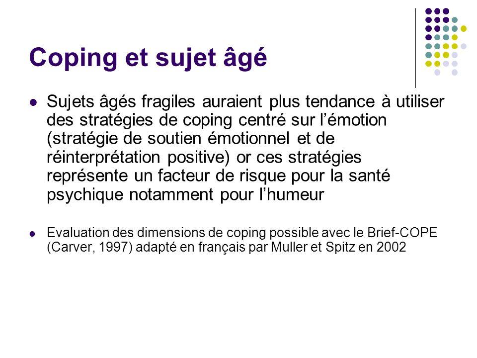 Coping et sujet âgé Sujets âgés fragiles auraient plus tendance à utiliser des stratégies de coping centré sur l'émotion (stratégie de soutien émotion