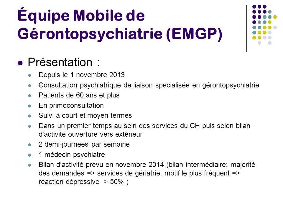 Équipe Mobile de Gérontopsychiatrie (EMGP) Présentation : Depuis le 1 novembre 2013 Consultation psychiatrique de liaison spécialisée en gérontopsychi