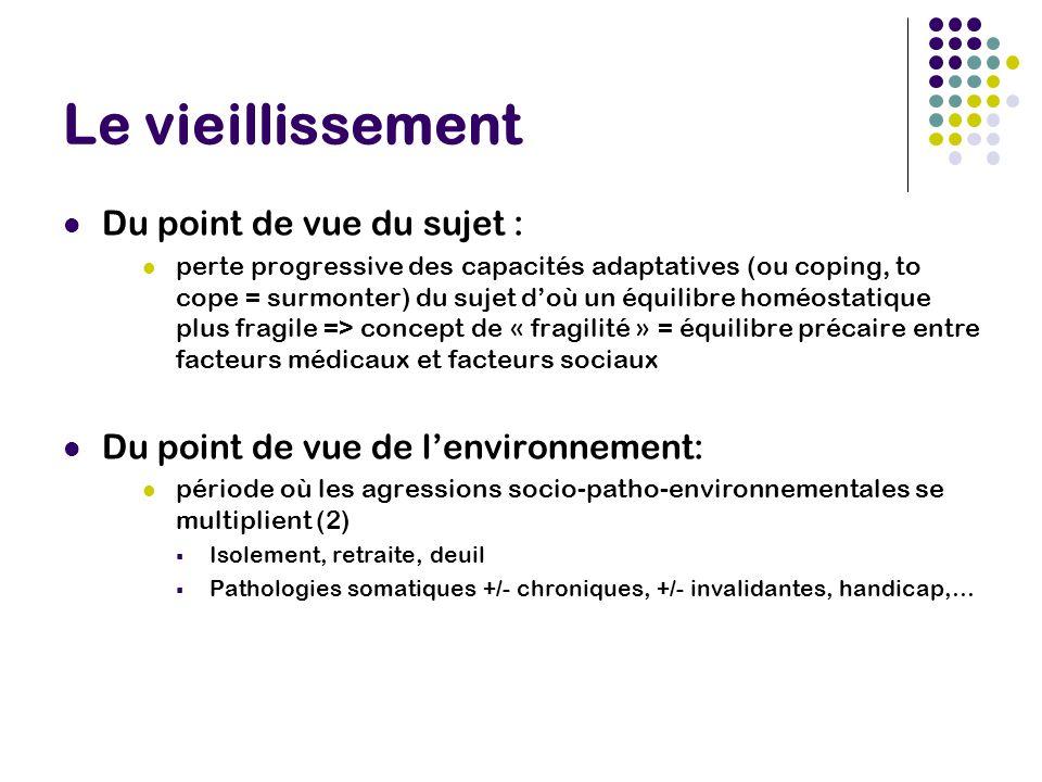 Coping et sujet âgé Sujets âgés fragiles auraient plus tendance à utiliser des stratégies de coping centré sur l'émotion (stratégie de soutien émotionnel et de réinterprétation positive) or ces stratégies représente un facteur de risque pour la santé psychique notamment pour l'humeur Evaluation des dimensions de coping possible avec le Brief-COPE (Carver, 1997) adapté en français par Muller et Spitz en 2002