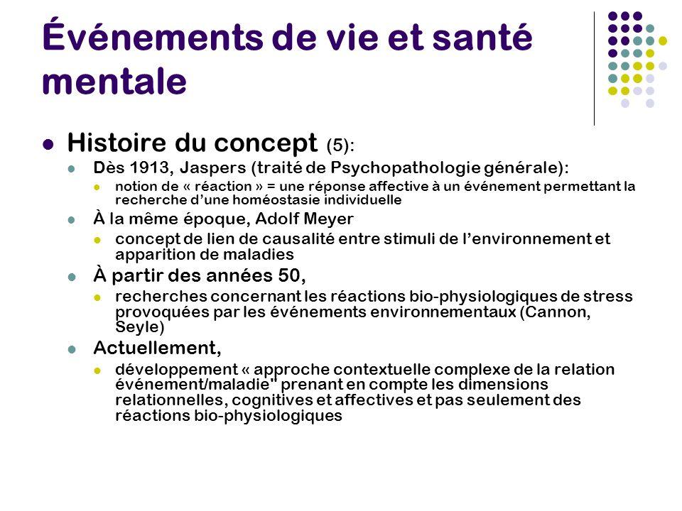 Événements de vie et santé mentale Histoire du concept (5): Dès 1913, Jaspers (traité de Psychopathologie générale): notion de « réaction » = une répo