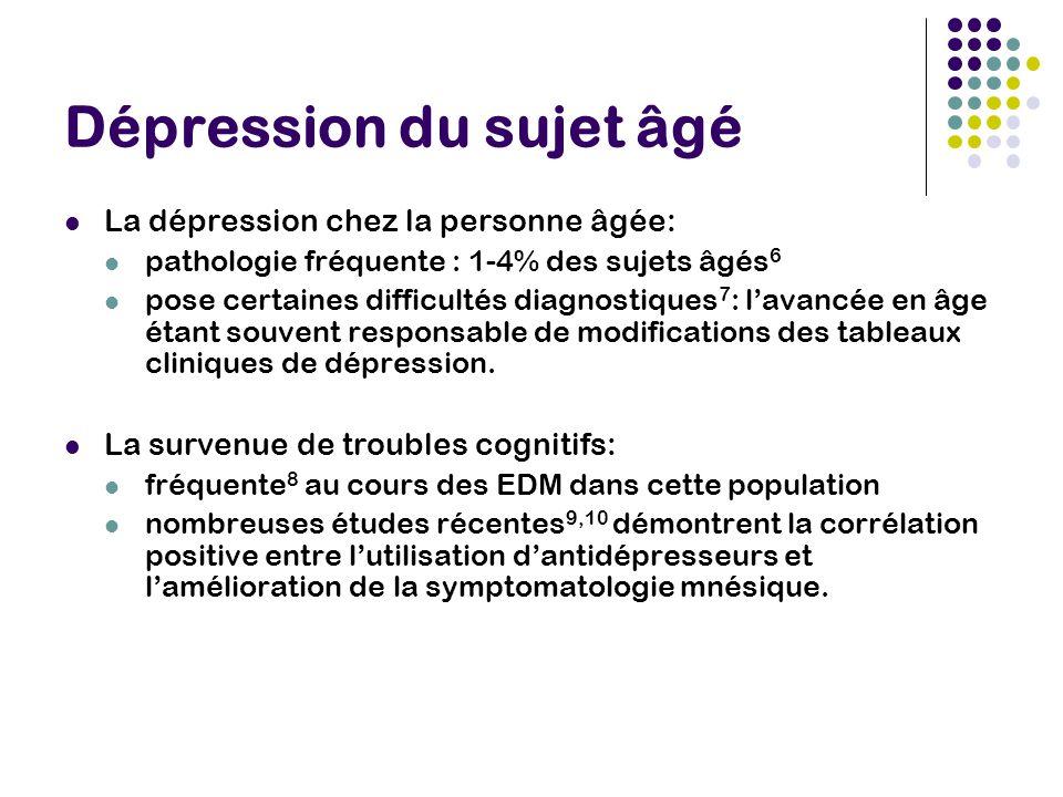 Dépression du sujet âgé La dépression chez la personne âgée: pathologie fréquente : 1-4% des sujets âgés 6 pose certaines difficultés diagnostiques 7