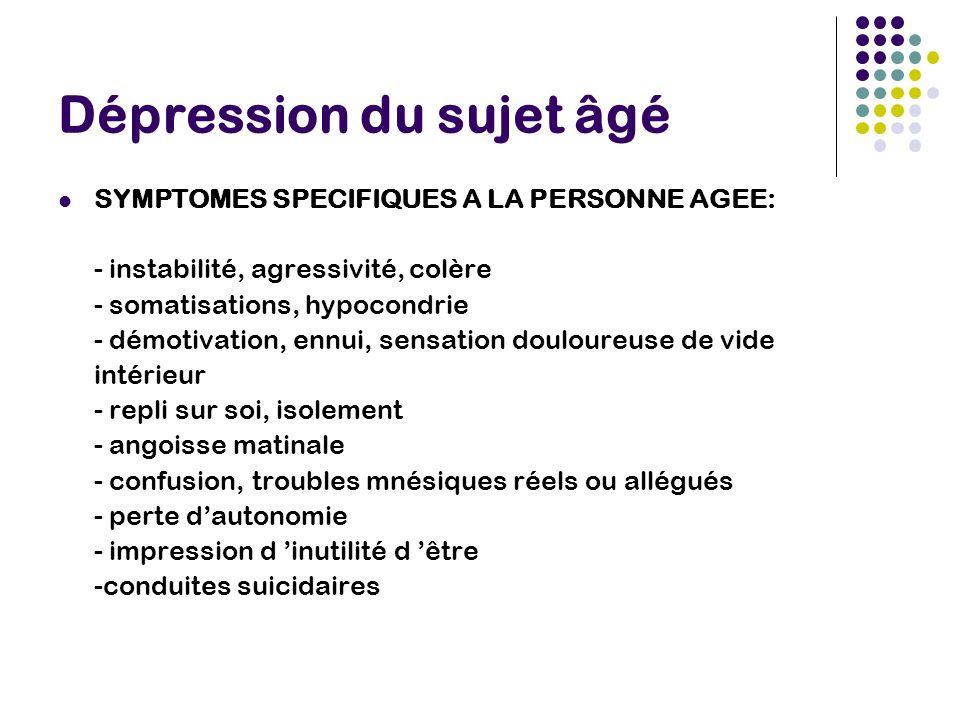 Dépression du sujet âgé SYMPTOMES SPECIFIQUES A LA PERSONNE AGEE: - instabilité, agressivité, colère - somatisations, hypocondrie - démotivation, ennu