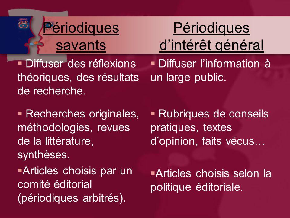 Périodiques savants Périodiques d'intérêt général  Diffuser des réflexions théoriques, des résultats de recherche.