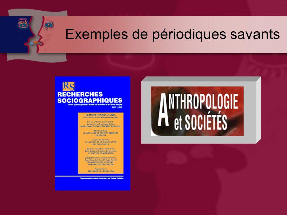 Exemples de périodiques savants