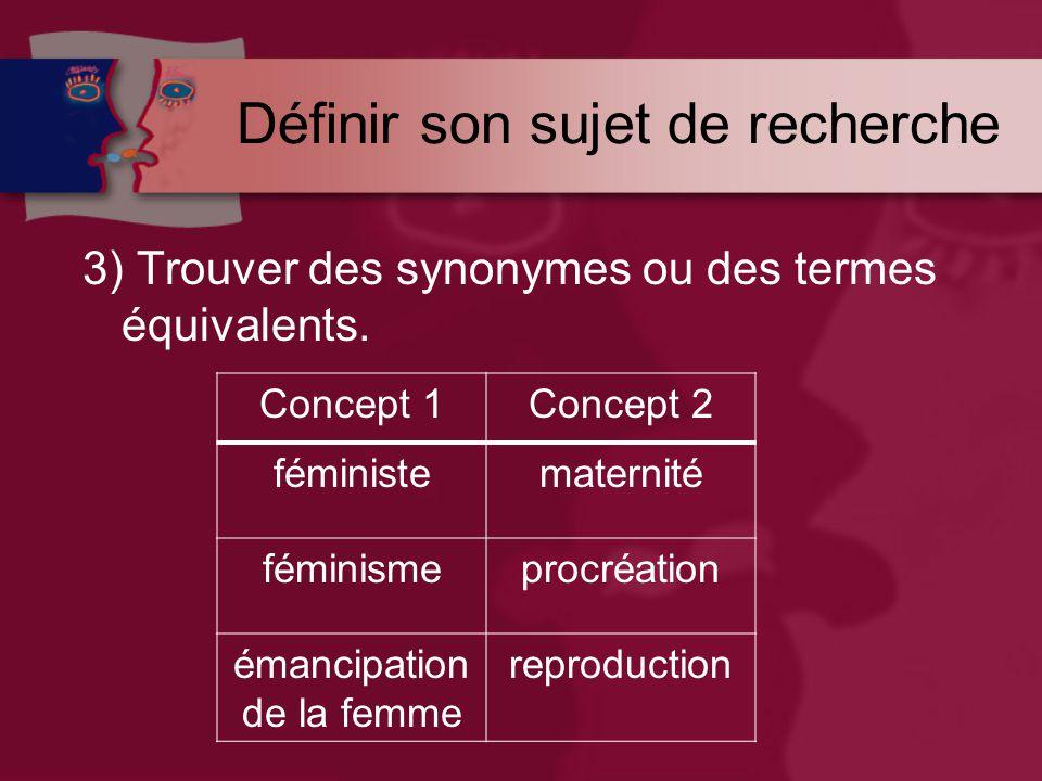 Définir son sujet de recherche 3) Trouver des synonymes ou des termes équivalents.
