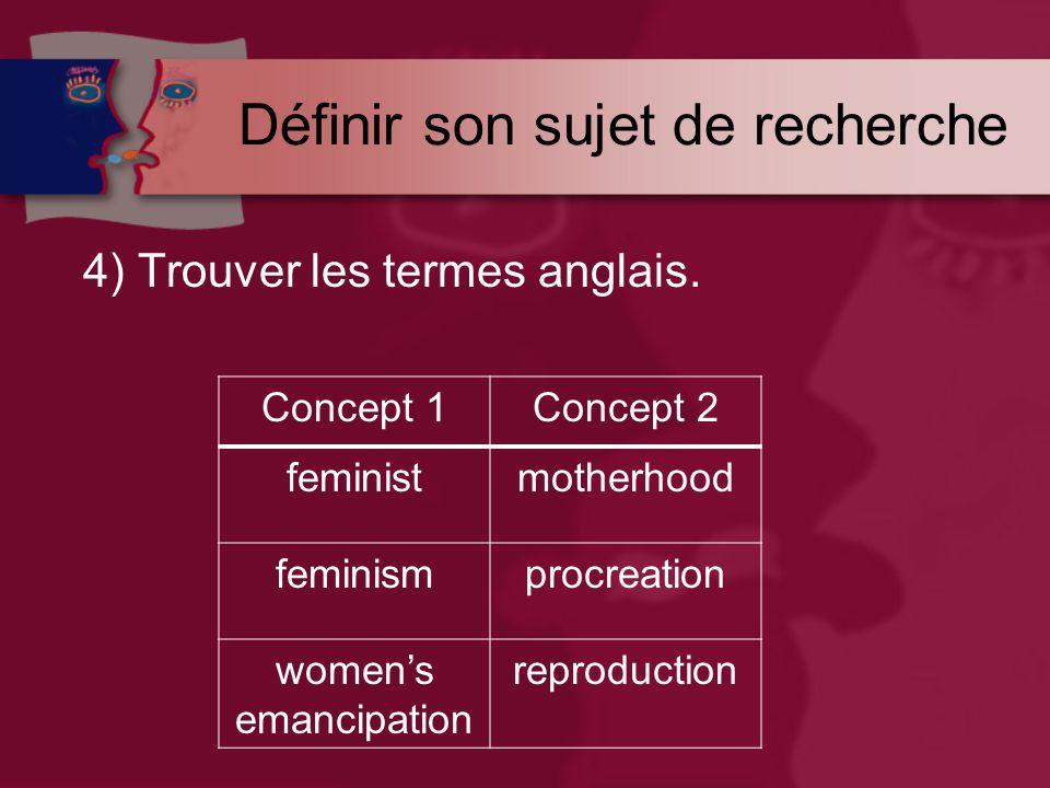 Définir son sujet de recherche 4) Trouver les termes anglais.
