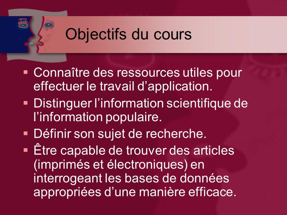 Objectifs du cours  Connaître des ressources utiles pour effectuer le travail d'application.