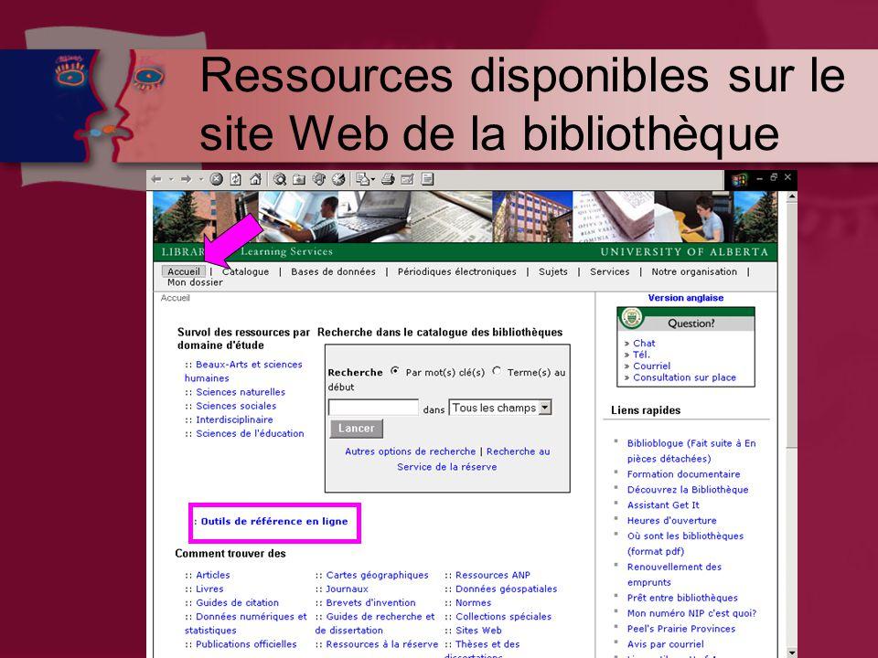 Ressources disponibles sur le site Web de la bibliothèque