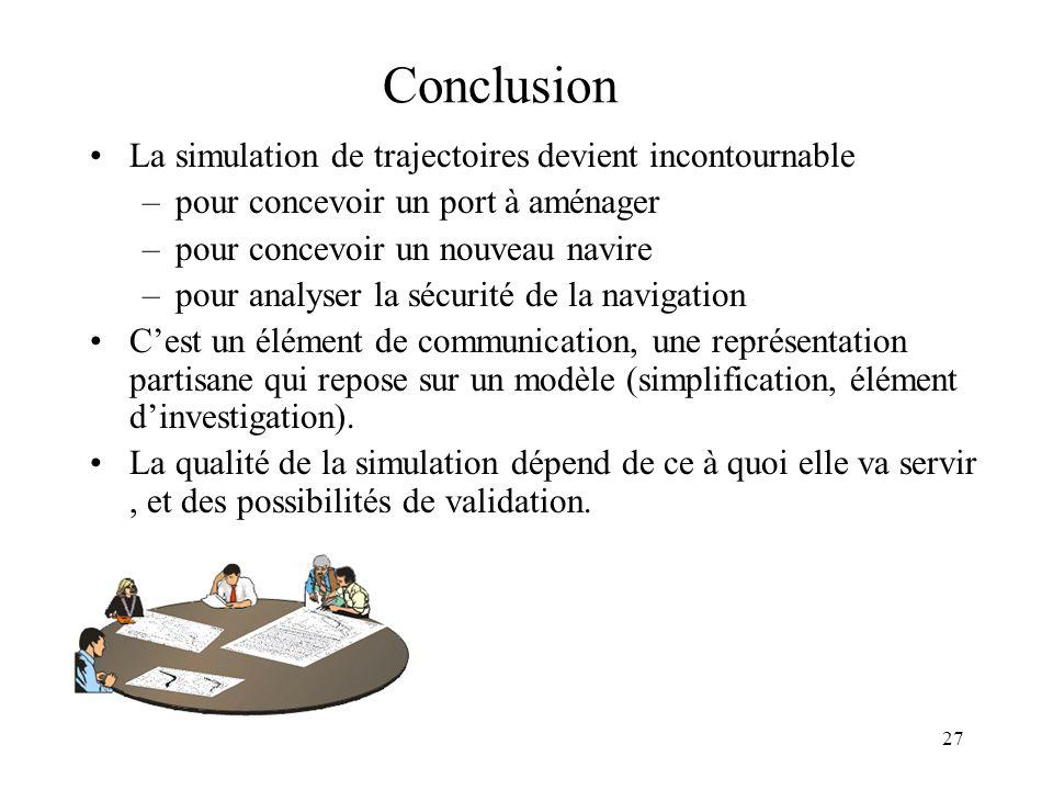 27 Conclusion La simulation de trajectoires devient incontournable –pour concevoir un port à aménager –pour concevoir un nouveau navire –pour analyser