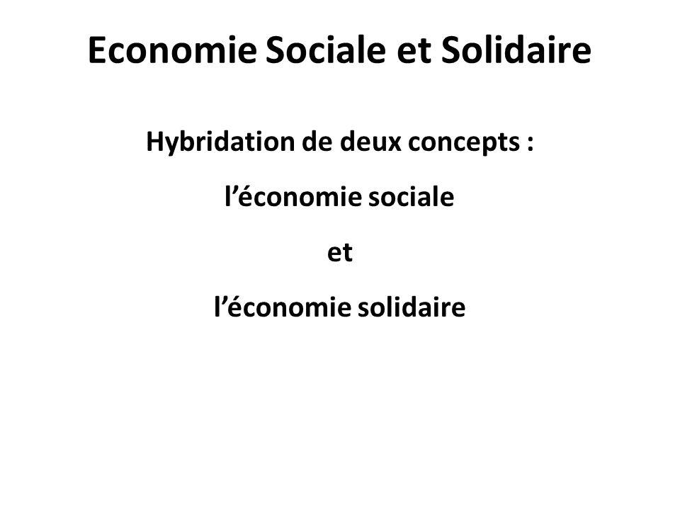 Economie Sociale et Solidaire Hybridation de deux concepts : l'économie sociale et l'économie solidaire