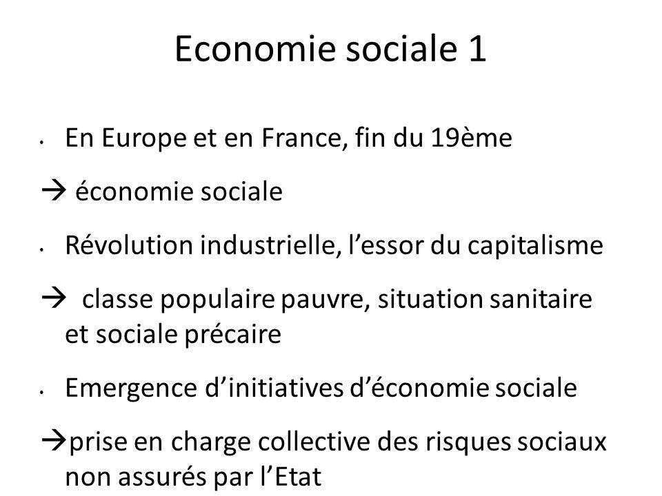 Economie sociale 1 En Europe et en France, fin du 19ème  économie sociale Révolution industrielle, l'essor du capitalisme  classe populaire pauvre,