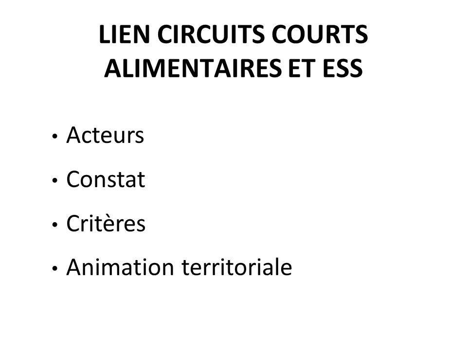 LIEN CIRCUITS COURTS ALIMENTAIRES ET ESS Acteurs Constat Critères Animation territoriale