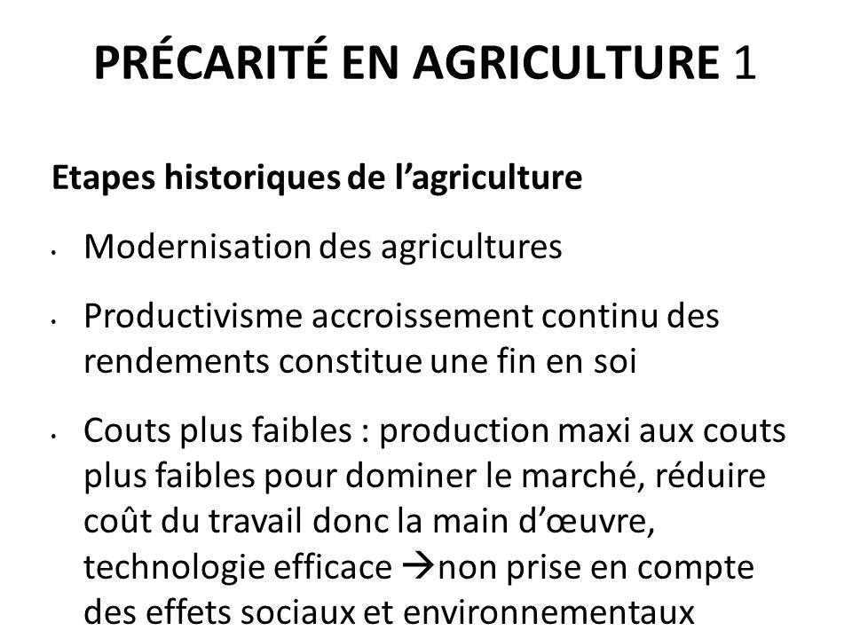 PRÉCARITÉ EN AGRICULTURE 1 Etapes historiques de l'agriculture Modernisation des agricultures Productivisme accroissement continu des rendements const