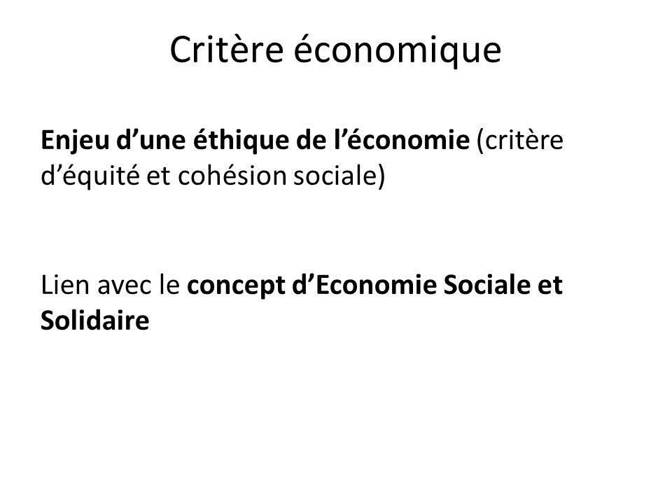 Critère économique Enjeu d'une éthique de l'économie (critère d'équité et cohésion sociale) Lien avec le concept d'Economie Sociale et Solidaire