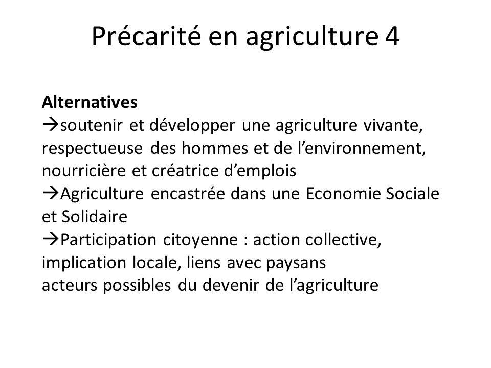 Précarité en agriculture 4 Alternatives  soutenir et développer une agriculture vivante, respectueuse des hommes et de l'environnement, nourricière e