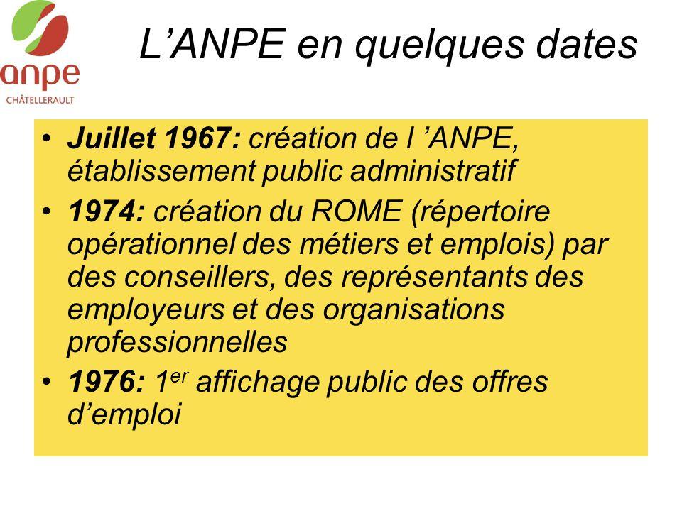 L'ANPE en quelques dates Juillet 1967: création de l 'ANPE, établissement public administratif 1974: création du ROME (répertoire opérationnel des mét