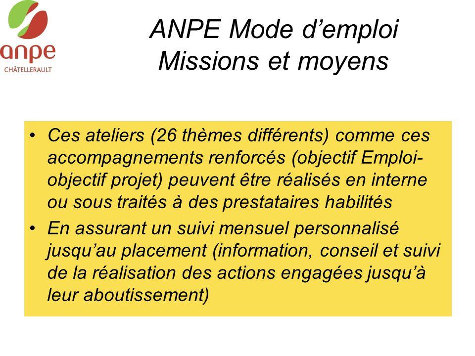 ANPE Mode d'emploi Missions et moyens Ces ateliers (26 thèmes différents) comme ces accompagnements renforcés (objectif Emploi- objectif projet) peuve