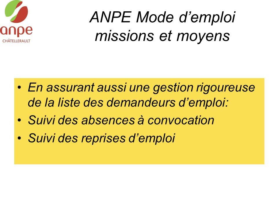 ANPE Mode d'emploi missions et moyens En assurant aussi une gestion rigoureuse de la liste des demandeurs d'emploi: Suivi des absences à convocation S