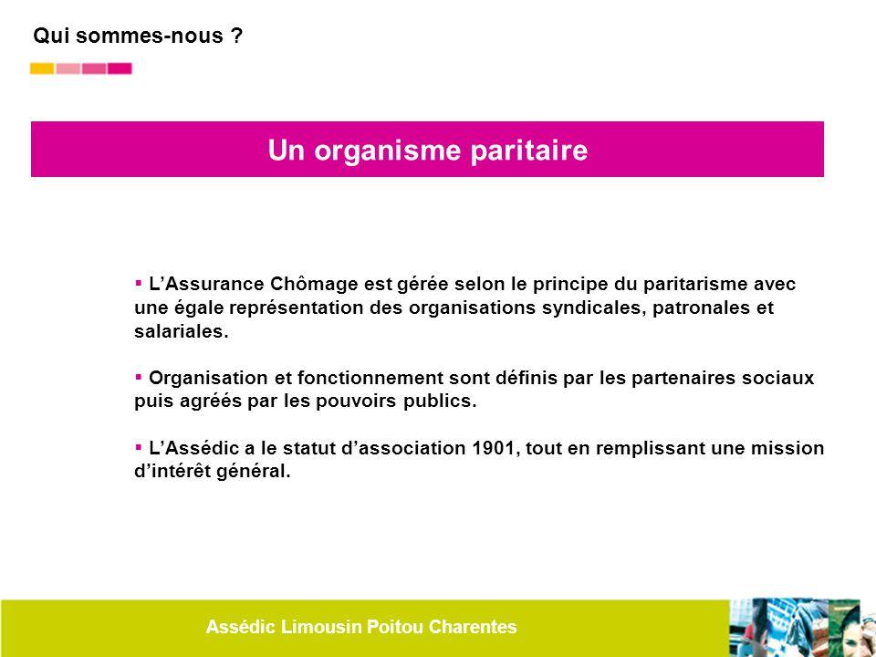 Assédic Limousin Poitou Charentes Un organisme paritaire  L'Assurance Chômage est gérée selon le principe du paritarisme avec une égale représentatio