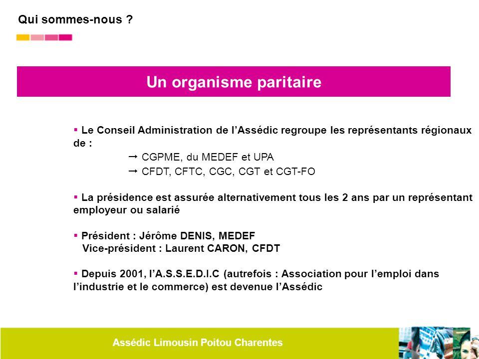 Assédic Limousin Poitou Charentes Un organisme paritaire  Le Conseil Administration de l'Assédic regroupe les représentants régionaux de :  CGPME, d