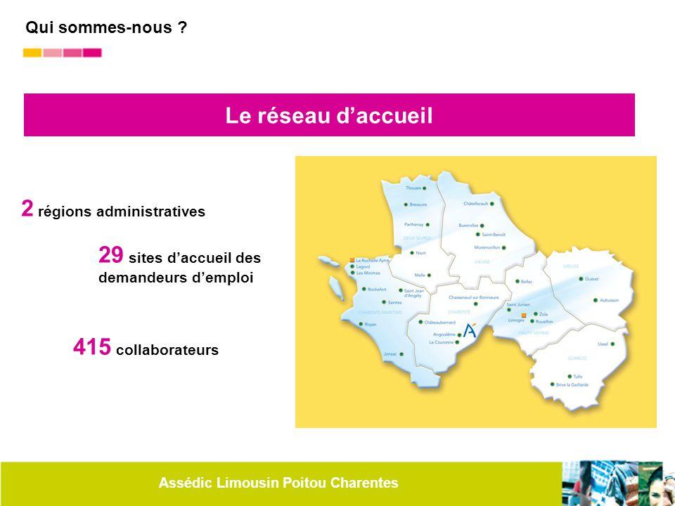 Assédic Limousin Poitou Charentes Le réseau d'accueil 2 régions administratives 29 sites d'accueil des demandeurs d'emploi 415 collaborateurs Qui somm