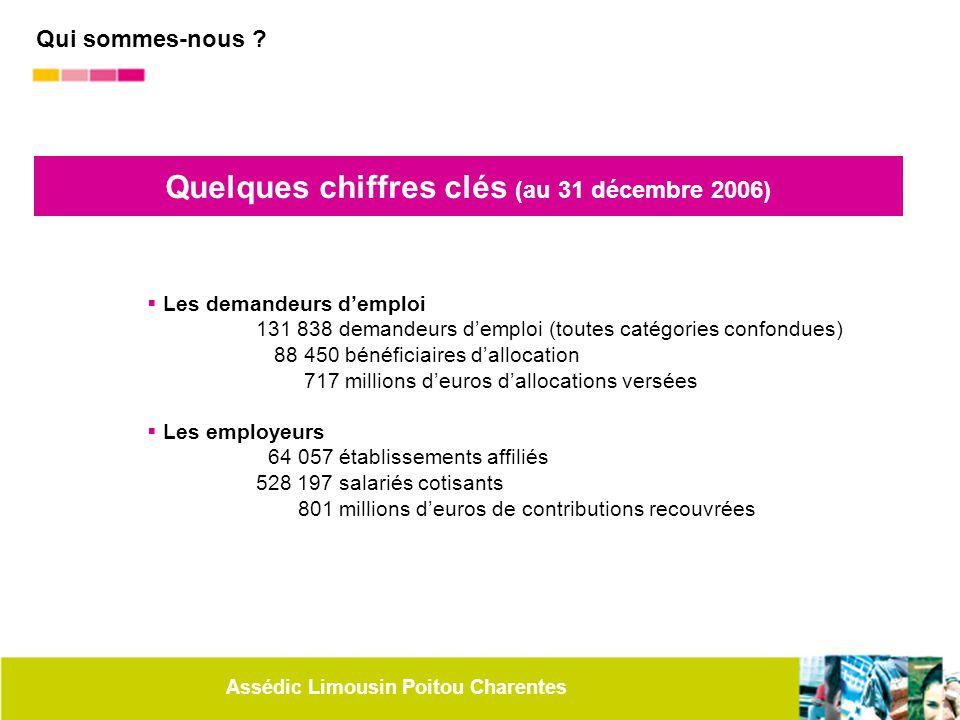 Assédic Limousin Poitou Charentes Quelques chiffres clés (au 31 décembre 2006)  Les demandeurs d'emploi 131 838 demandeurs d'emploi (toutes catégorie