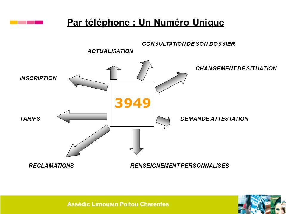 Assédic Limousin Poitou Charentes 3949 INSCRIPTION CHANGEMENT DE SITUATION TARIFS RECLAMATIONS ACTUALISATION DEMANDE ATTESTATION RENSEIGNEMENT PERSONN