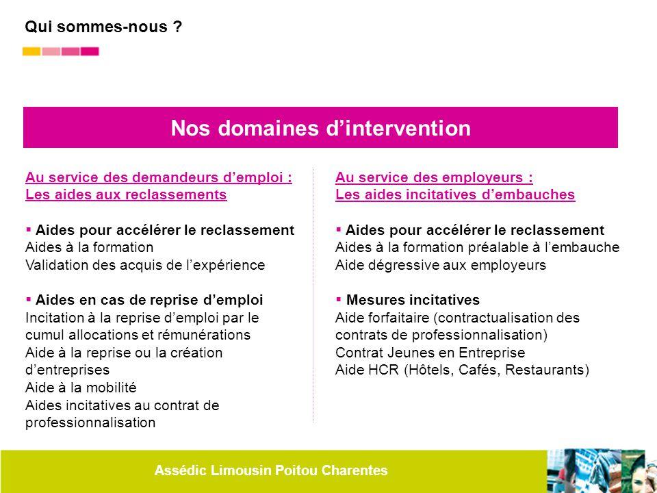 Assédic Limousin Poitou Charentes Nos domaines d'intervention Au service des demandeurs d'emploi : Les aides aux reclassements  Aides pour accélérer