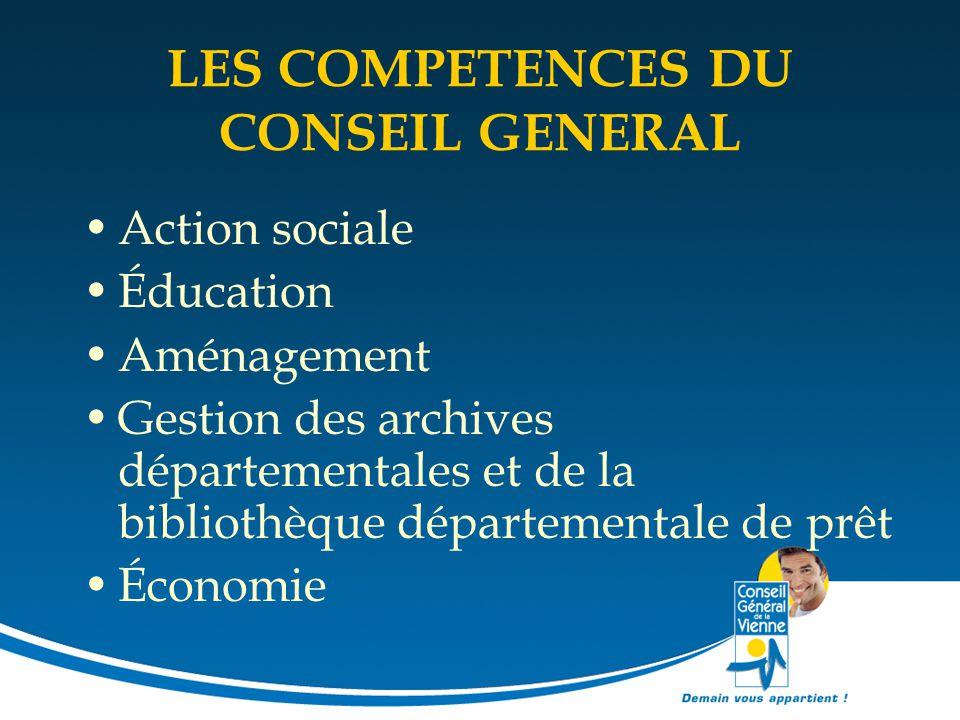 LES COMPETENCES DU CONSEIL GENERAL Action sociale Éducation Aménagement Gestion des archives départementales et de la bibliothèque départementale de p