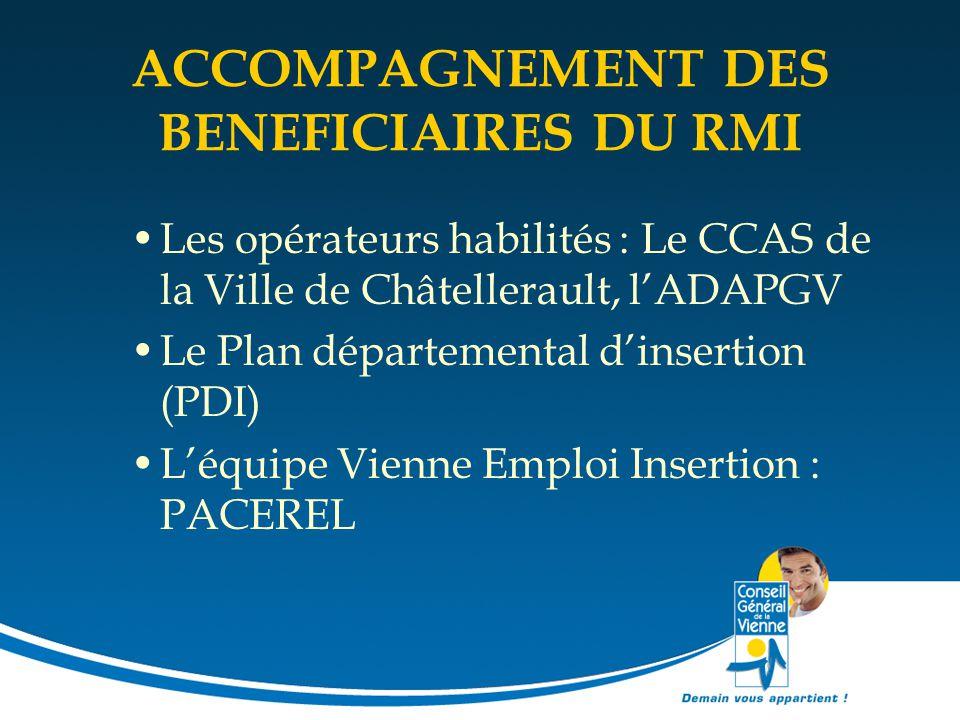ACCOMPAGNEMENT DES BENEFICIAIRES DU RMI Les opérateurs habilités : Le CCAS de la Ville de Châtellerault, l'ADAPGV Le Plan départemental d'insertion (P