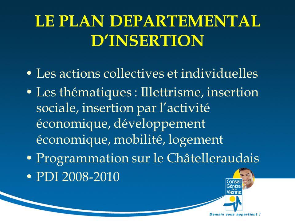 LE PLAN DEPARTEMENTAL D'INSERTION Les actions collectives et individuelles Les thématiques : Illettrisme, insertion sociale, insertion par l'activité