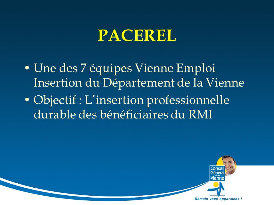 PACEREL Une des 7 équipes Vienne Emploi Insertion du Département de la Vienne Objectif : L'insertion professionnelle durable des bénéficiaires du RMI