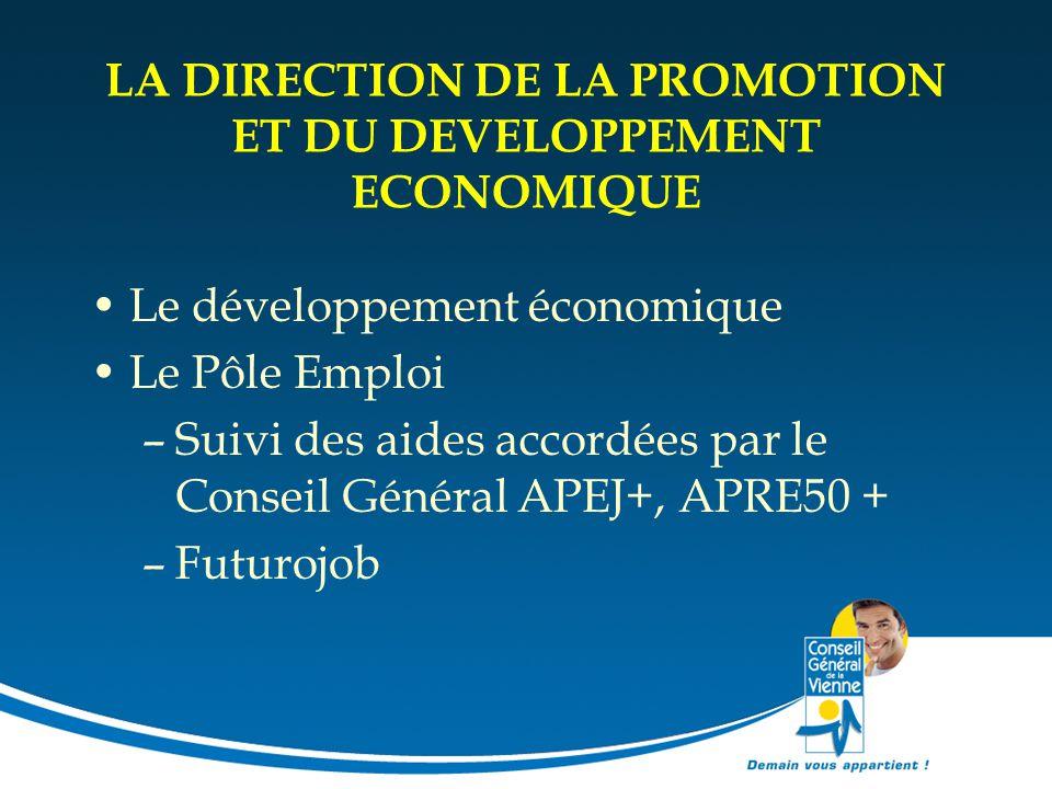 LA DIRECTION DE LA PROMOTION ET DU DEVELOPPEMENT ECONOMIQUE Le développement économique Le Pôle Emploi –Suivi des aides accordées par le Conseil Génér