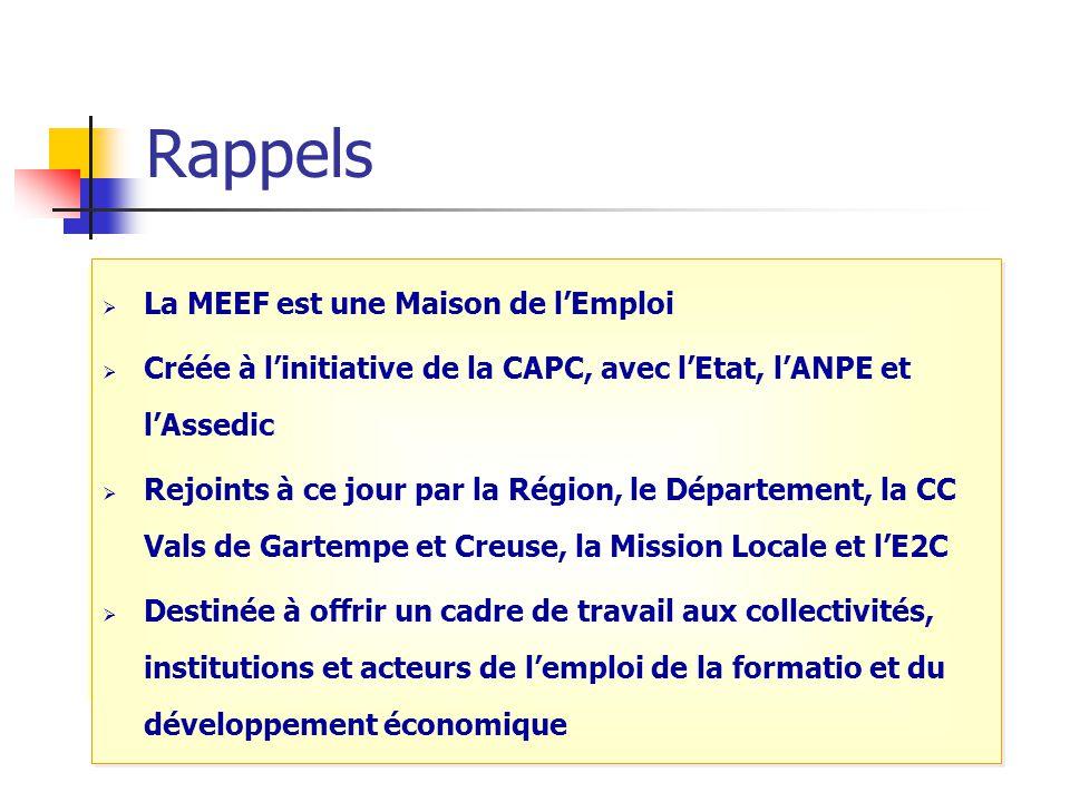 Rappels  La MEEF est une Maison De l'Emploi  Labellisée en janvier 2006  AG constitutive le 29 mars 2006  conventionnée depuis décembre 2006.  Si