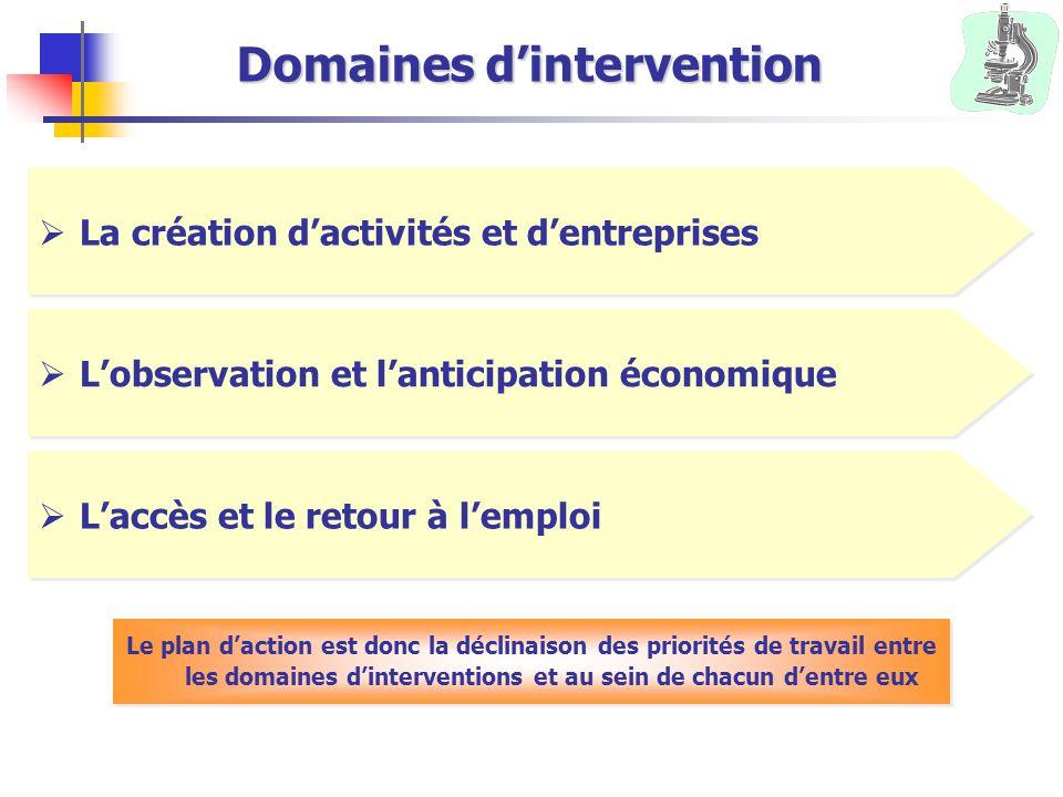 Domaines d'intervention  La création d'activités et d'entreprises  L'observation et l'anticipation économique  L'accès et le retour à l'emploi Le p