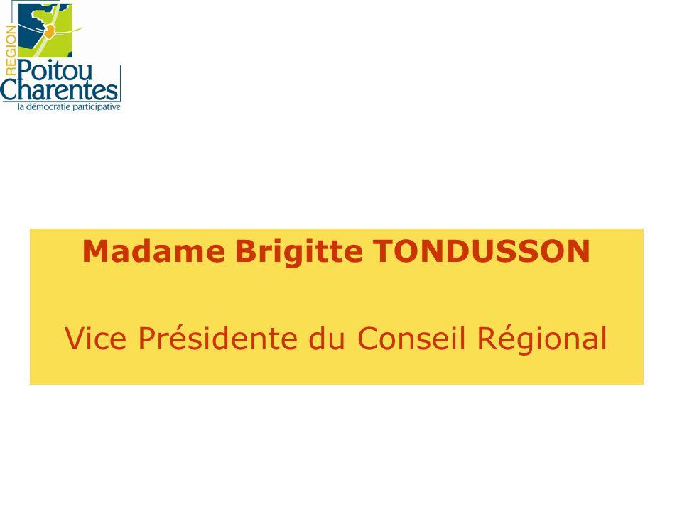 Madame Brigitte TONDUSSON Vice Présidente du Conseil Régional