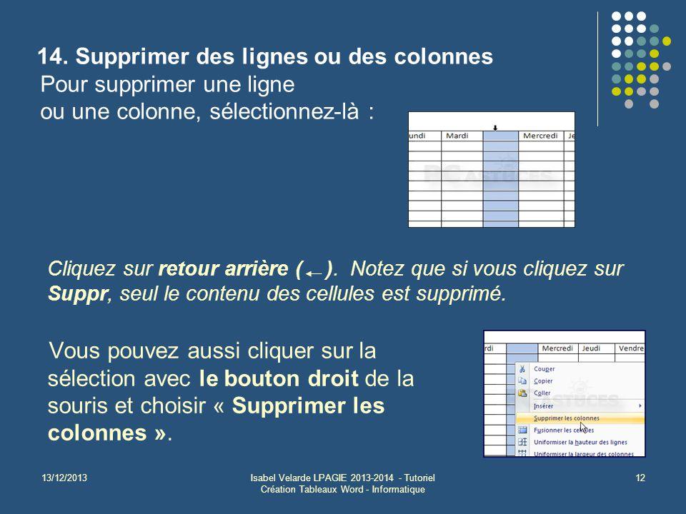 13/12/2013Isabel Velarde LPAGIE 2013-2014 - Tutoriel Création Tableaux Word - Informatique 12 14. Supprimer des lignes ou des colonnes Pour supprimer