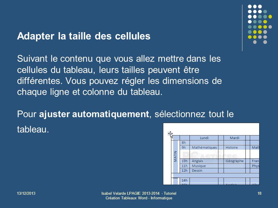13/12/2013Isabel Velarde LPAGIE 2013-2014 - Tutoriel Création Tableaux Word - Informatique 18 Adapter la taille des cellules Suivant le contenu que vous allez mettre dans les cellules du tableau, leurs tailles peuvent être différentes.