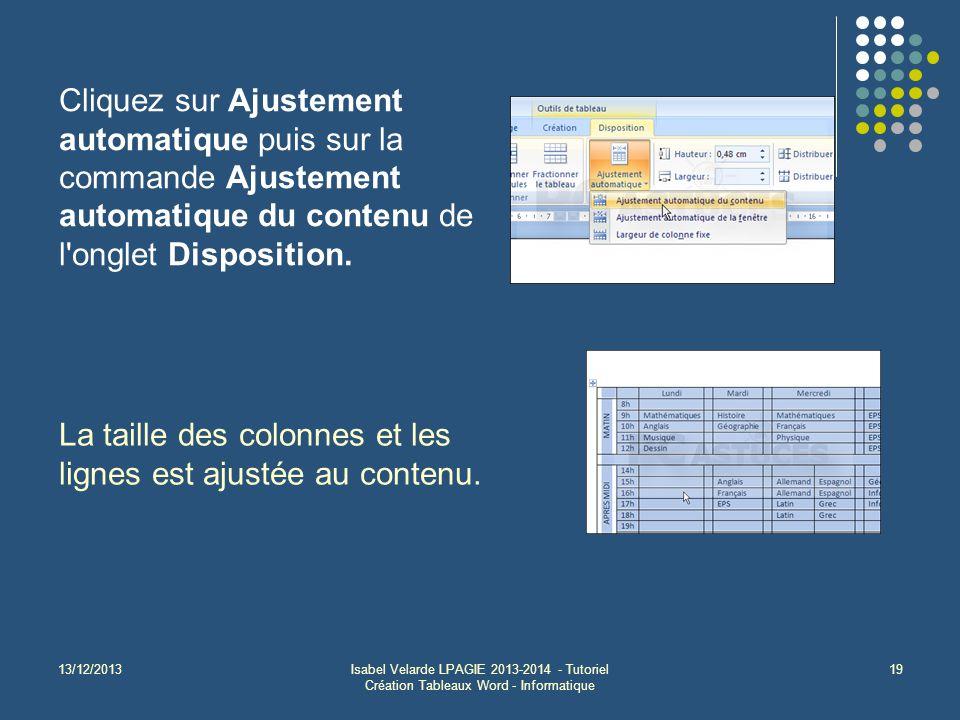 13/12/2013Isabel Velarde LPAGIE 2013-2014 - Tutoriel Création Tableaux Word - Informatique 19 Cliquez sur Ajustement automatique puis sur la commande Ajustement automatique du contenu de l onglet Disposition.