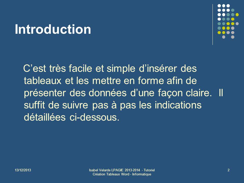 13/12/2013Isabel Velarde LPAGIE 2013-2014 - Tutoriel Création Tableaux Word - Informatique 2 Introduction C'est très facile et simple d'insérer des tableaux et les mettre en forme afin de présenter des données d'une façon claire.