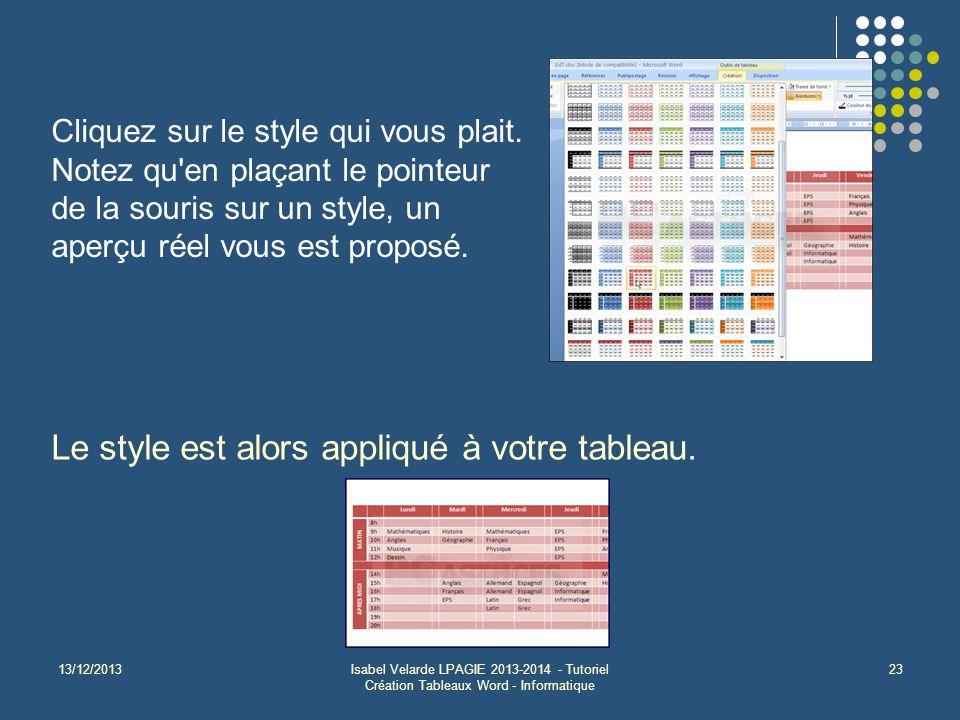 13/12/2013Isabel Velarde LPAGIE 2013-2014 - Tutoriel Création Tableaux Word - Informatique 23 Cliquez sur le style qui vous plait. Notez qu'en plaçant