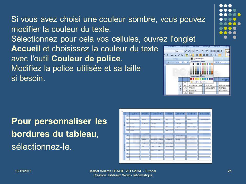 13/12/2013Isabel Velarde LPAGIE 2013-2014 - Tutoriel Création Tableaux Word - Informatique 25 Pour personnaliser les bordures du tableau, sélectionnez-le.