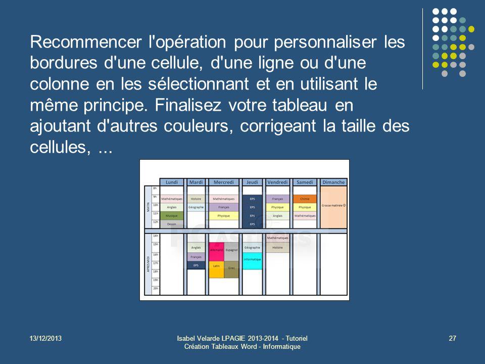 13/12/2013Isabel Velarde LPAGIE 2013-2014 - Tutoriel Création Tableaux Word - Informatique 27 Recommencer l opération pour personnaliser les bordures d une cellule, d une ligne ou d une colonne en les sélectionnant et en utilisant le même principe.