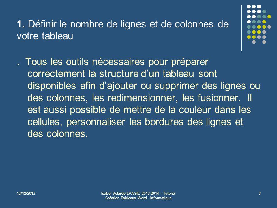13/12/2013Isabel Velarde LPAGIE 2013-2014 - Tutoriel Création Tableaux Word - Informatique 3 1. Définir le nombre de lignes et de colonnes de votre ta