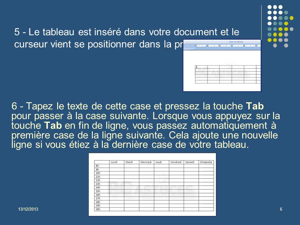 13/12/2013Isabel Velarde LPAGIE 2013-2014 - Tutoriel Création Tableaux Word - Informatique 6 5 - Le tableau est inséré dans votre document et le curseur vient se positionner dans la première cellule.