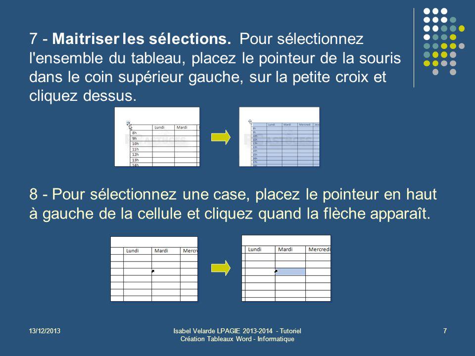 13/12/2013Isabel Velarde LPAGIE 2013-2014 - Tutoriel Création Tableaux Word - Informatique 7 7 - Maitriser les sélections. Pour sélectionnez l'ensembl