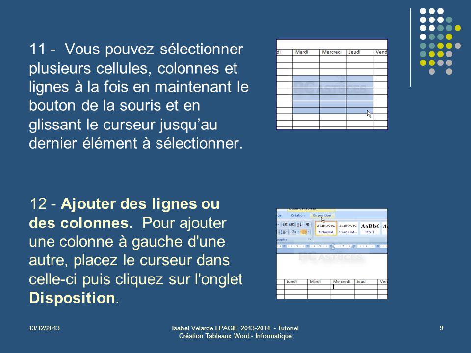 13/12/2013Isabel Velarde LPAGIE 2013-2014 - Tutoriel Création Tableaux Word - Informatique 9 11 - Vous pouvez sélectionner plusieurs cellules, colonnes et lignes à la fois en maintenant le bouton de la souris et en glissant le curseur jusqu'au dernier élément à sélectionner.
